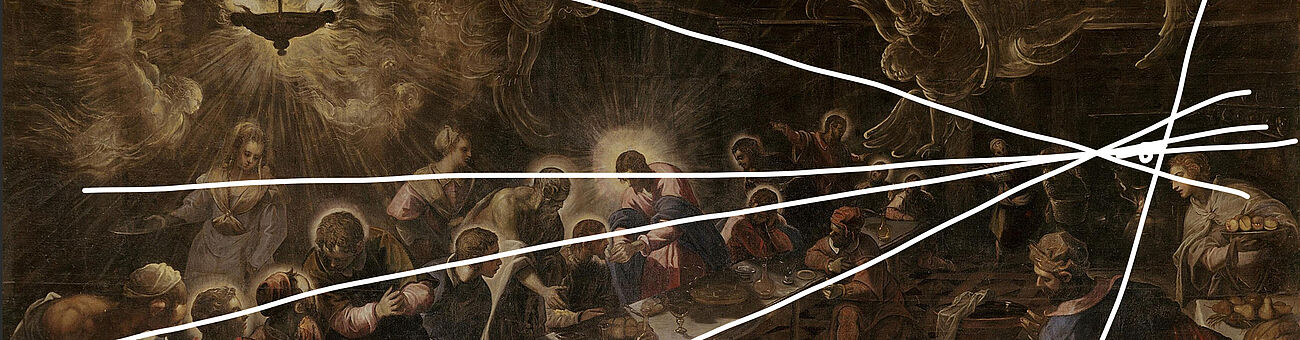 Participant's drawing of the composition lines on Tintoretto's Last Supper (1592)